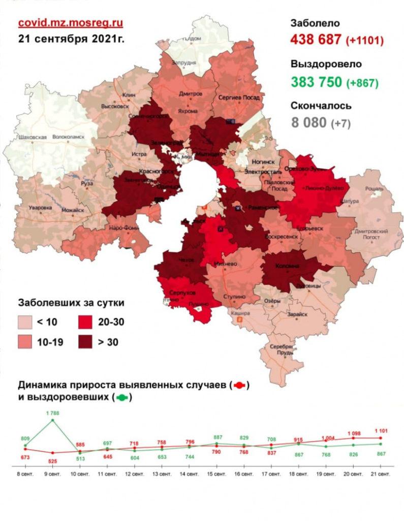 1 101 случай заболевания коронавирусом выявлен в Подмосковье за сутки